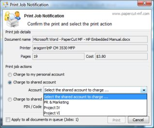 Copier Control - HP Embedded for PaperCut MF