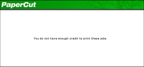 拒絕餘額不足的用戶進行影印操作