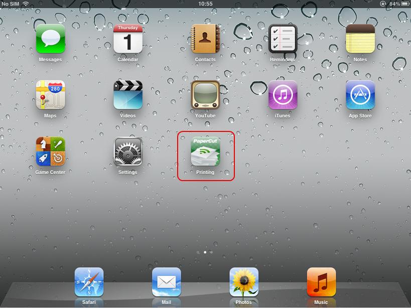 在iPad主螢幕上的PaperCut列印應用程式