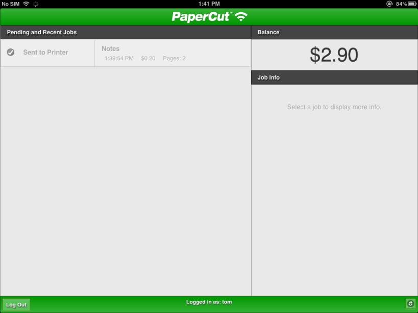 PaperCut列印應用程式顯示您的作業狀態