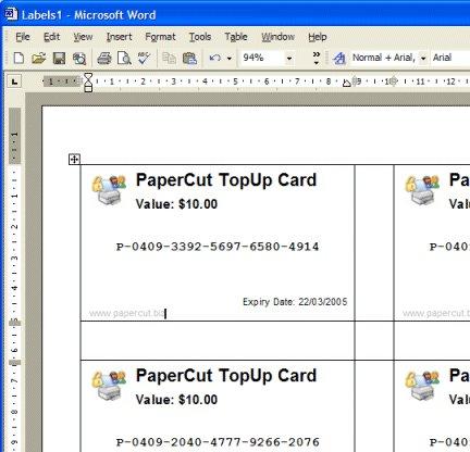 在MS Word上充值卡/儲值卡的版面