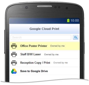 Google雲端列印™的印表機列表