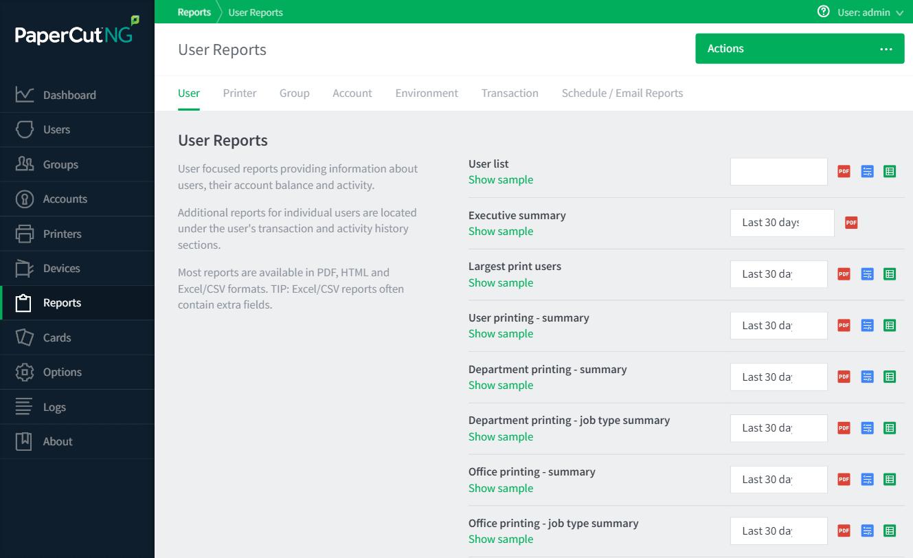 報表選項卡顯示一些預先建立的用戶報表