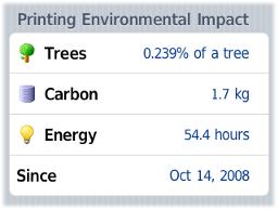 在iPhone中顯示用戶的列印影印工作對環境所帶來的影響