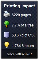 在Windows Vista中顯示用戶的列印影印工作對環境所帶來的影響