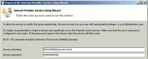 Internet Control service setup